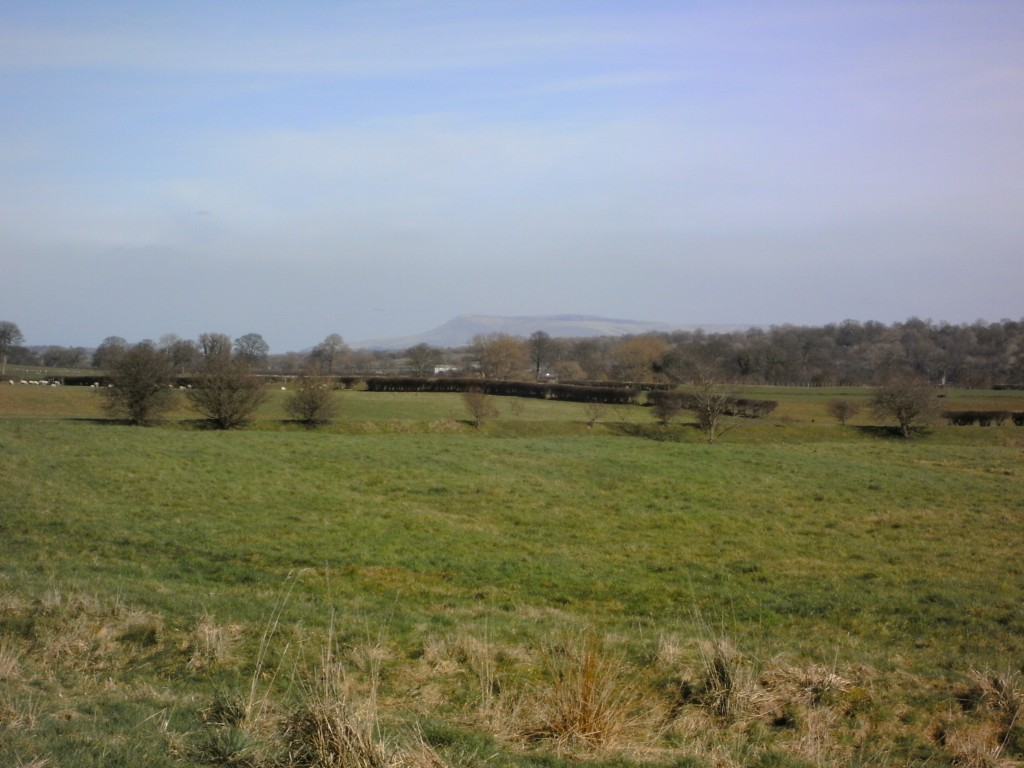 Looking North from Preston, Bowland's hill in the distance.