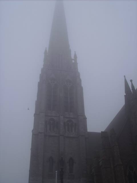 St Walburge's Church Spire, disappearing into the mist. At 309 ft tall, it's the tallest parish church in the UK.