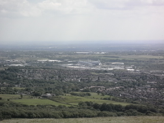 I believe that's Bolton down there, Reebok Stadium standing out.