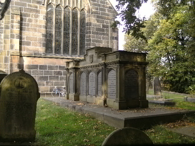 Time for the first (now obligatory) Church shot - a lovely sepulchre in the grounds, with a Trigger photobomb.
